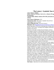 argument essay on the lottery by shirley jackson with works cited page Symbolism in jackson's the lottery in the lottery, shirley jackson sets up a story where the writing style is like thesis paper on the lottery similar essays.