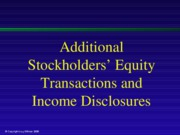 Additional Stockholders' Equity Transactions and Income Disclosures