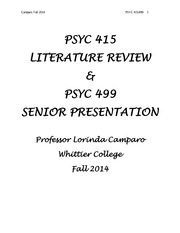 2014 Literature Review Syllabus and Assignments