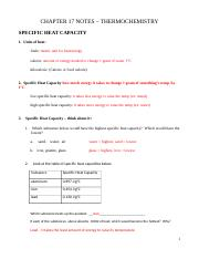 Specific Heat Ws Answers Name Answer Key Date Chp 2 1 Specific