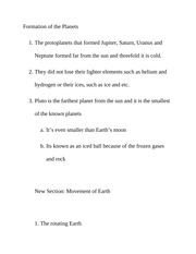 Formation of the Planets Class Notes