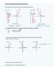 Characteristics of Exponential Function Notes