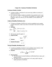 Continuous Random Variables: Notes out of Text Book: Statistics for Business and Economics
