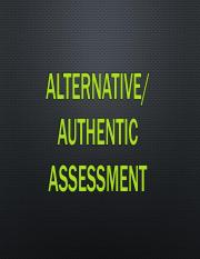 Alternative and Authentic Assessment