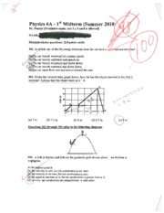 PHYSICS 6A. Nassar, Midterm, 2010, Summer