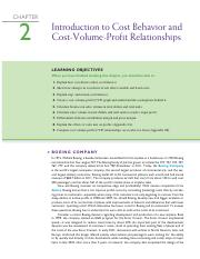 Intro to Cost Behaviour and Cos-Volume -Profit - Ch2
