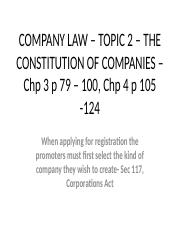 COMPANY LAW – TOPIC 2 – THE CONSTITUTION(3)