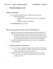 Study Guide for Exam #4