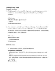 Chapter 1 Human Resource Managment Overview Study Guide