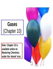 CHM 102 Chapter 10 Gases