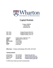 Capital Markets Syllabus 238 738 Spring 2014 Revision 1.03