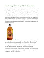 How Does Apple Cider Vinegar Help You Lose Weight
