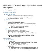 Week 1 Lec 2 - Structure and Composition of Earth's Atmosphere