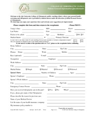 CLIN 2504 Patient General Information Questionnaire COLOR