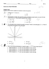 MCR3U Final exam Review with solutions