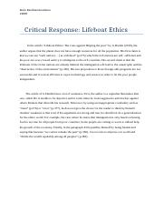 critical response life boat ethics