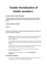 Family-Socialization of family members in marketing theory