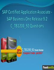 SAP Certified Application Associate - SAP Business One Release 9.2 C_TB1200_92 Questions.ppt