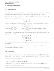 Math 152 Inverse Matrices