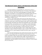 The Historical Context, Impact and Importance of the 22nd Amendment- Project Part 2_.docx