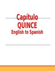 Capítulo QUINCE  vocabulario English to Spanish.ppt