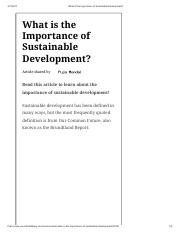 What is the Importance of Sustainable Development_