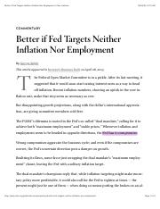 Better if Fed Targets Neither Inflation Nor Employment  Cato Institute