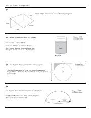 Volume and area worksheet with answers - HALFTERM 2 -TEST (1)