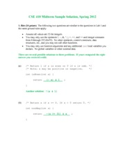Midterm Exam Solution Spring 2012