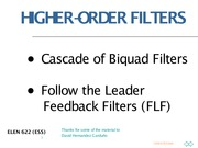Lecture 8 on High-Order Filters Cascade