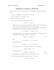 Exam 1 Part 2 Solution Spring 2010 on Introduction to Analysis
