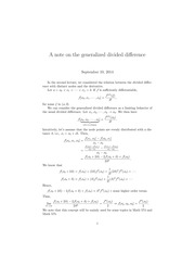 Numerical Fall 2014 Lecture 3.1, note on generalized divided difference