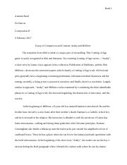 Araby and Millions Essay of Comparison and Contrast.docx