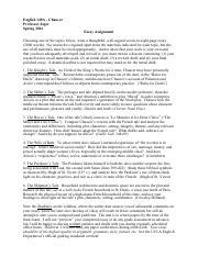 canterbury tales ap essay questions