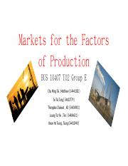 Markets for the factors of production (T11)