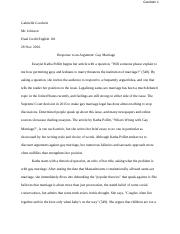 Persuasion and Rhetoric: Essay for Honors English IV - Gay Marriage.docx