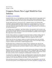 Congress Passes New Legal Shield for Gun Industry