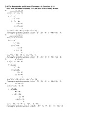 Worksheets Remainder Theorem Worksheet remainder and factor theorems answers 2 3 the a exercises 1 18 4