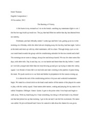 English Comp. - Essay 1 The Burning of Victory