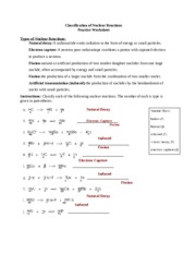 Classification of Nuclear Reactions Practice Worksheet ...