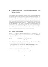 8 Approximations, Taylor Polynomials and Taylor Series notes