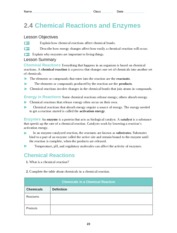 Chemical Reactions and Enzymes Worksheet - Name Class Date 2.4 ...