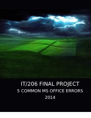 IT206- FINAL PROJECT - PART I and PART II - MS Office Errors