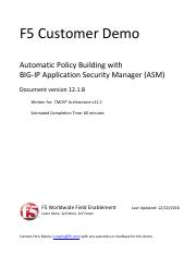 UDF Demo - Automatic Policy Building with ASM