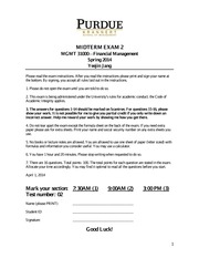 financial management midterm1 Withdrawing from classes or school  if you are a financial aid recipient and you withdraw,  and document management fees) student a withdraws on september 4,.