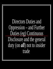 Add Weeks Seven and Eight Directors Duties & Oppression