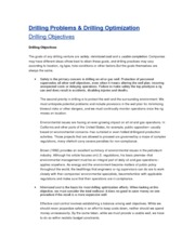 Drilling Problems n Drilling optimization1