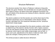 Structure refinement notes