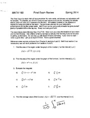 MATH 180 Sample Final