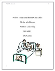 Patient Safety and Health Care Ethics